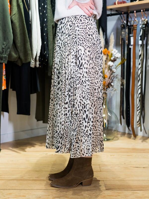 Jupe longue plissée léopard Pipelettes Talence zoom profil