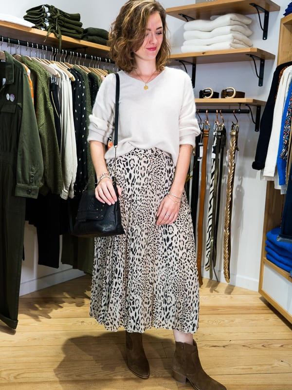 Jupe longue plissée léopard Les Pipelettes Talence