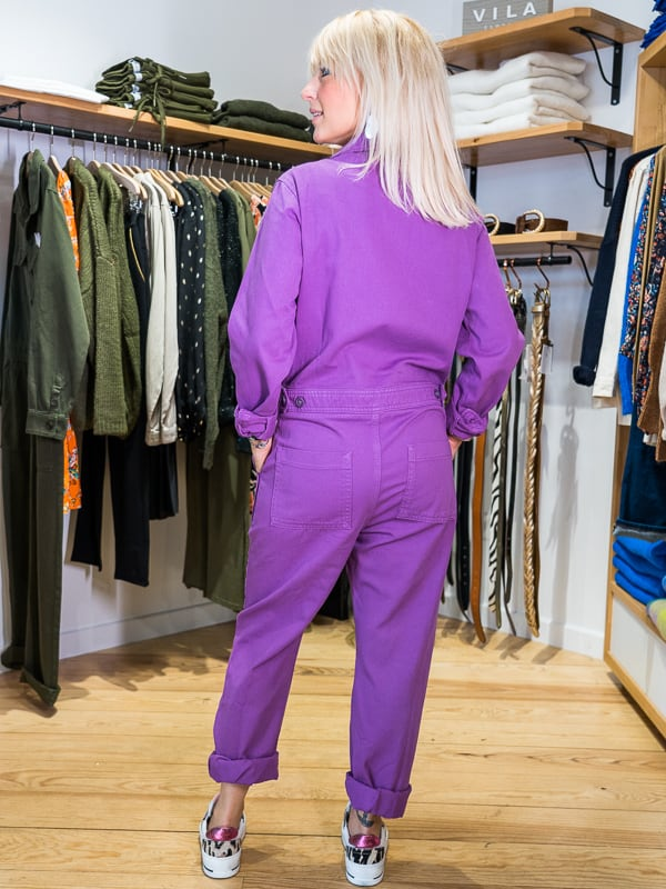 Combinaison pantalon DEMI HAPPY violet zinzolin Pipelettes Talence dos