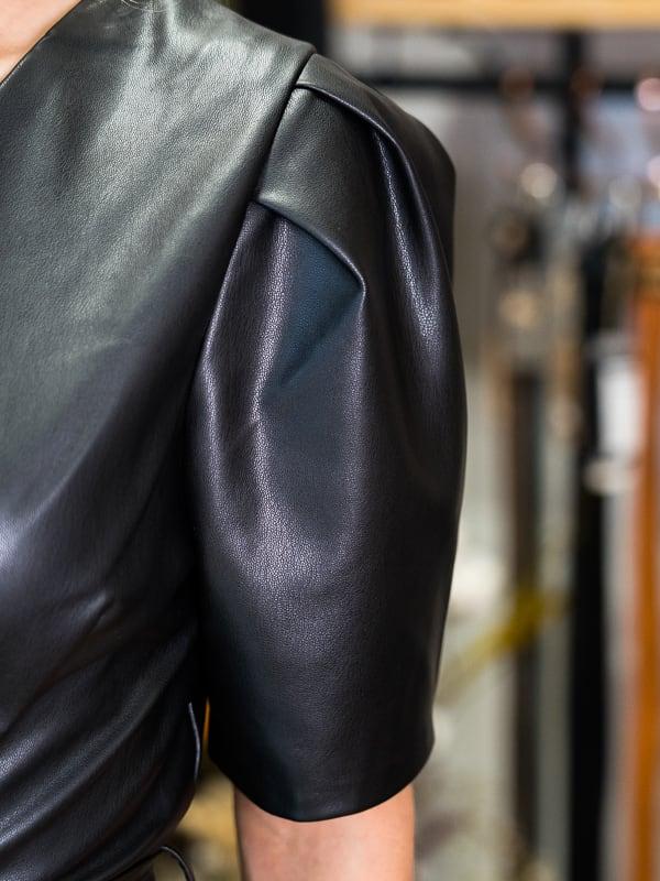 Robe simicuir ceinturee pipelettes talence zoom1