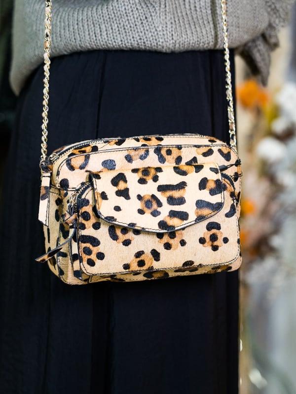 Sac PIECES cuir leopard les pipelettes talence porte