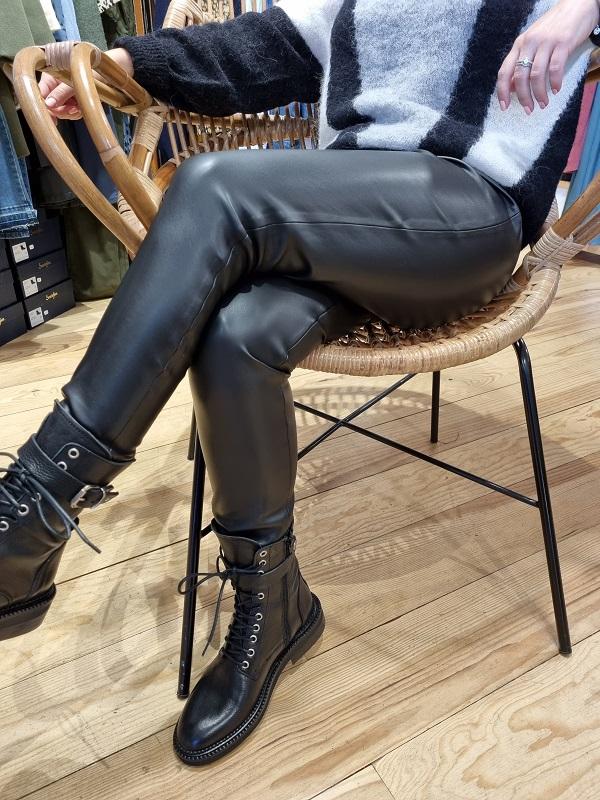 Pantalon similicuir noir ichi lespipelettes talence zoom3