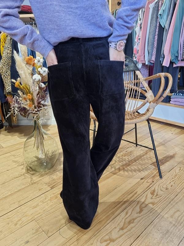 Pantalon velours noir vila lespipelettes talence dos