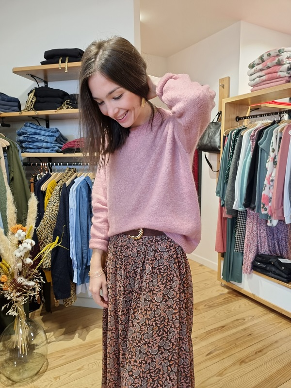 Pull mohair msch ash rose les pipelettes talence look